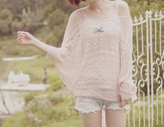 Cute oversized sweater with the denim shorts