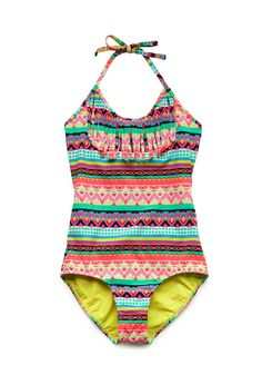 Globetrotter Fringed One-Piece (Kids) | FOREVER21 girls forever 21 has really nice 1 piece swimsuits