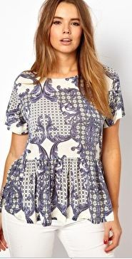 Baroque Print Peplum Top by Asos Curve