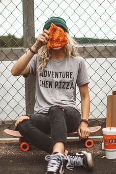 """Adventure, then pizza! Sounds like a perfect plan to us. Unisex, gray triblend tee, women may prefer to order one size down. Leanne is 5'4"""" and wearing size small. Hailey is wearing a Medium Size ques"""