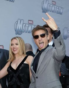 Jeremy Renner and Scarlett Johansson attend the Russian Premiere of 'Marvel's The Avengers' held at Oktyabr cinema on April 17, 2012 in Moscow, Russia