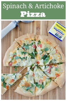 AD Spinach and Artichoke Pizza - the most delicious pizza topped with 2 cheeses spinach artichokes and tomatoes. And easy 30 minute dinner recipe! The secret is Fleischmanns RapidRise Yeast! Easy Homemade Pizza, Easy Homemade Recipes, Easy Dinner Recipes, Lunch Recipes, Dinner Ideas, Beef Recipes, Vegetarian Recipes, Pizza Recipes, Yummy Recipes