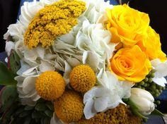 Yarrow, rose, hydrangea, tulip, berzilia berry, succulent, craspedia, bouquet by Ladybird Poppy