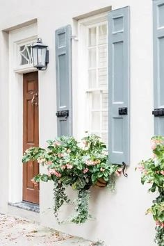If you want to make the most out of your window box, you need to design it properly. Need ideas to style your window box? Check out our 17 list window box ideas Exterior Colors, Exterior Paint, Exterior Design, Interior And Exterior, Kitchen Interior, Blue Shutters, Diy Shutters, Window Shutters, Exterior Shutters