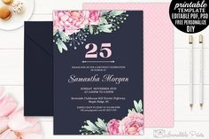 Navy and Pink Birthday Invitation by Incredible Prints on @creativemarket