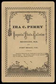 Ira C. Perry, Imperial Photo Galleries Mendocino, Elk, & Fort Bragg, CA
