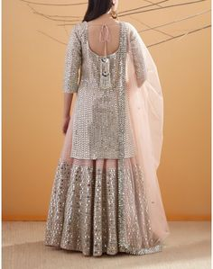 Peach Gota and Mirror Embroidered Kurta Set Sarara Dress, Lehnga Dress, Pakistani Dresses, Indian Dresses, Indian Outfits, Indian Designer Outfits, Designer Dresses, Suit Up, Fancy Suit