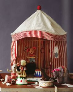 Please check new Maileg Circus Tent! The fun and whimsical circus tent is made with sturdy canvas fabric. Baby Toys, Kids Toys, Craft Fair Table, Creation Crafts, Circus Baby, Business For Kids, Classic Toys, Kids Gifts, Paper Dolls
