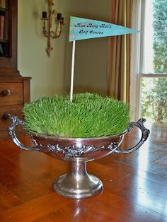 Here are more ideas for ways to use the fun (to watch grow) and economical (only pennies each) grass centerpieces. The original pos. Grass Centerpiece, Banquet Centerpieces, Floral Centerpieces, Golf Trophies, Growing Grass, Golf Party, Tennis Party, Masters Golf, Golf Theme