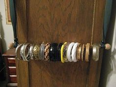 Adventures In Creating: DIY Jewelry Holder Bracelet Organizer, Bracelet Holders, Diy Jewelry Holder, Jewelry Organization, Storage Organization, Organizing, Smart Bracelet, Jewelry Making, Closet Ideas