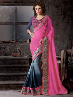 Buy Pink and Navy Blue Silk Georgette Saree with Resham Embroidery Work Online in USA, UK - Saree.com