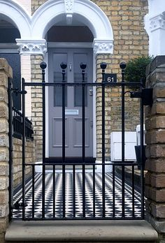 london front garden company dulwich Peckham victorian restoration walls rails and gates mosaic Victorian Front Garden, Victorian Front Doors, Victorian Terrace, House Front Gate, Front Gates, Front Garden Path, Garden Gates, Garden Railings, Wall Railing