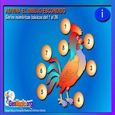 Este juego contiene 8 actividades de series numéricas básicas. El juego consiste en seguir el orden haciendo clic desde el número 1 al 26 uniendo los números con líneas. Cuando se ha completado correctamente se visualizará un dibujo cuyo contorno coincide con el que se ha formado con las líneas.