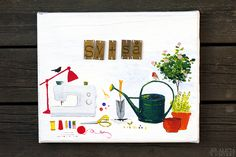 """""""Sy + så"""" (Swedish for sew + sow), mixed media painting by Alicia Sivertsson for Monthly Makers."""