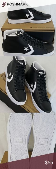Converse Unisex Pro Leather 76 Mid Black New with box. Size 10 for men Size 11.5 for women Actual pictures of the sneakers.  Non smoking environment.  Check out my other listing for more discounted stuff. Converse Shoes Athletic Shoes