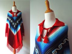 Womens Vintage Red Blue and White Navajo Style Fringed Ladies 70s Sweater Knit Poncho / Shawl / Medium / Large. $35.00, via Etsy.
