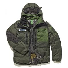 The MA.STRUM White Label Down Fill Snow Parka has been designed with snow-sports in mind; it features a flexible PU visor, merino wool mouth guard & snap-fastening snow skirt, all of which marry to offer supreme protection from the elements Military Green, Military Jacket, Tactical Wear, Fall Winter 2014, Canada Goose Jackets, Hooded Jacket, Jacket Men, Parka, Cool Style