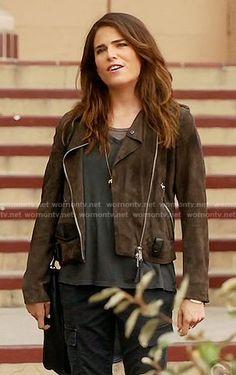 Laurel's brown moto jacket on How to Get Away with Murder.  Outfit Details: https://wornontv.net/59895/ #HTGAWM