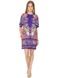 ROBERTO CAVALLI Flower Printed Silk Crepe Dress, Multicolor. #robertocavalli #cloth #dresses