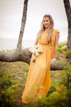 Coren Moore mustard bridesmaid dress