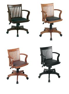 Mission Style Bankers Wood Swivel Desk Chair Laquered Finish WArms U0026 Padded  Seat #OfficeStar #