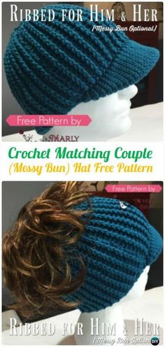 Crochet Matching Couple Ribbed Messy Bun Hat Free Pattern - #Crochet Ponytail Messy Bun Hat Free Patterns