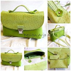 Made of leather and wool felt. Book Purse, Green Bag, Bag Making, Purses And Handbags, Wool Felt, Louis Vuitton Damier, Lime, Pattern, Leather