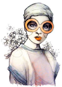 Love this style and the subtle splash of color! --Katie Rodgers Fashion Illustration