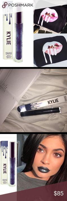 🎉HP🎉Birthday Kylie Makeup bag & Kymajesty Both brand new and in box and wrapping ... both sold out completely online !! Get them both now for this great price !!!❌no lowballing no trades!!!!...best in makeup host pick 11/8 Kylie Cosmetics Makeup Lipstick