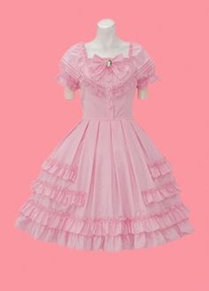 Pink Short Sleeves Multi layer Single breasted Cotton Lolita Dress Lolita clothes