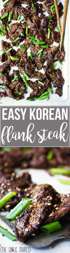 Easy Korean Flank Steak - Literally the most flavorful, tender piece of meat I have ever eaten in my life! AND it's easy to throw together. #glutenfree TheGarlicDiaries.com