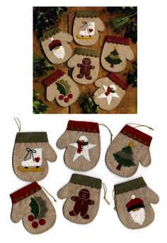 Free Simple Felt Ornament Patterns ornaments kit pattern felt string and floss to make 6 mitten ornaments . Felt Christmas Decorations, Christmas Ornaments To Make, Christmas Sewing, Noel Christmas, Primitive Christmas, Handmade Christmas, Ornament Crafts, Xmas Crafts, Christmas Projects