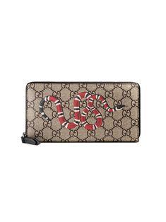 6c70b2dd920 Gucci Snake Print GG Supreme Zip Around Wallet. Buy Gucci ...