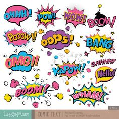 Comic Text Digital Clipart Superhero Text Clipart by LittleMoss