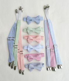 Bow Tie Suspenders, Seersucker, Suspenders Tie, Ring Bearer, Braces Bow Tie, Baby Boy Clothes, Toddler Tie Suspenders, Suspender Set by fourtinycousins on Etsy https://www.etsy.com/listing/271981410/bow-tie-suspenders-seersucker-suspenders