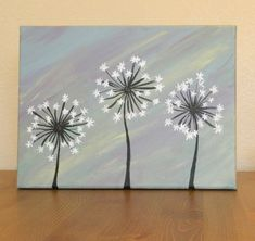 Original Dandelion Acrylic Painting on Canvas by AshleyMadelines, $20.00