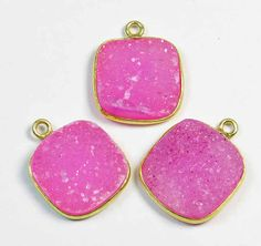 Druzy Parts 3 Pcs 925 Sterling Silver Bazel Connector by GEMSICON