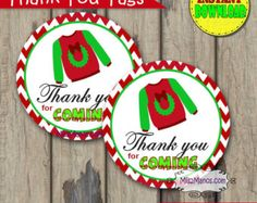 INSTANT DOWNLOAD Ugly Christmas Sweater, Tacky Sweater printable 3 inch favor tags