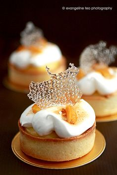 Tarte au Citron. pate sablee crust, homemade lemon curd, italian meringue, homemade candied lemon peel, bubble sugar decor made with isomalt.