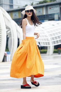 Lagenlook Maxi jupe grandes poches gros balayent par Sophiaclothing