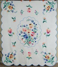 OUTSTANDING Vintage Pansy Bouquet Floral Applique Antique Quilt ~SIGNED & DATED!