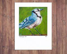 Blue Jay Painting Bird Art, bird painting, bird artwork, bird print, giclee, woodland