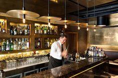 Pierluigi Restaurant - Rome, Italy. Collaboration with Pier Giorgio Antonetti /// restaurant / ceiling light / suspension / discs / multiple / decorative / brass /// Contact us - pslab.net