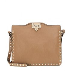 Valentino Rockstud Leather Shoulder Bag (20.240 ARS) ❤ liked on Polyvore featuring bags, handbags, shoulder bags, brown, genuine leather shoulder bag, studded handbags, leather purse, beige leather handbags and genuine leather purse