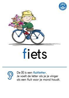 De letter -f- klinkt bijna hetzelfde als de letter -v-. Als je de letter -f- van fiets uitspreekt, lijkt het alsof je ffffluit. Dat is heel anders dan het uitspreken van de letter -v- van vis. Deze overzichtskaart kan je helpen bij het onthouden van deze regel en het aanleren van de woorden met een -f-. Kijk voor meer handige uitlegkaarten op www.taal-oefenen.nl Learn Dutch, Dutch Words, Dutch Language, School Tool, Letter F, Creative Teaching, Home Schooling, Worksheets For Kids, Einstein