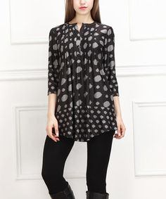 Another great find on #zulily! Black & Gray Circle Notch Neck Tunic by  #zulilyfinds