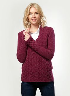 Featuring the iconic horseshoe cable stitch, this flattering v-neck sweater is a charming classic. A soft and luxurious combination of wool and cashmere. Irish Design, Woolen Mills, Cable Knit Sweaters, Summer Collection, Spring Fashion, Knitwear, Jumper, Cashmere, Women Wear