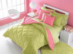 Victoria Classics Solid Reversible Full/Queen Comforter Set, Pink/Green