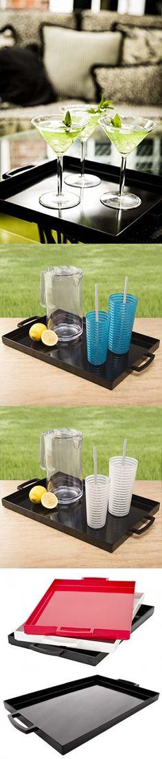 "Zak! Designs MeeMe Rectangular Serving Tray, 19.5"" by 11.5"", Break-resistant and BPA-free Plastic, Black"