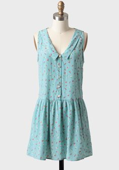 Floral Fields Collared Dress In Blue   Modern Vintage Cute Dresses For Spring